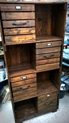checkout here these DIY pallet chest of drawers / bookcase / cabinet , you can clone them all for a mannered way storage of your interior items and