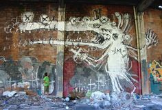 Mural in abandoned factory. Dedicated to all the  dead people on this planet.... Girona 2010