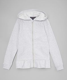 Another great find on #zulily! Light Gray Peplum Hoodie - Toddler & Girls #zulilyfinds