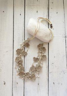 Beaded Bib Necklace, Beige Crochet Statement Necklace, Bib Necklace, Beadwork, ReddApple, Handmade Beaded Jewelry, Fast Delivery