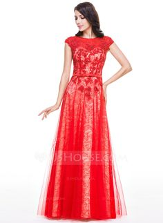 A-Line/Princess Scoop Neck Floor-Length Tulle Charmeuse Lace Evening Dress With Beading Sequins Bow(s) (017056508)