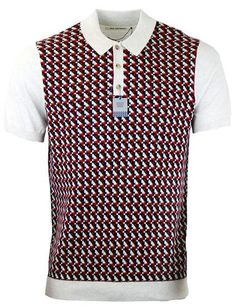 BEN SHERMAN Retro 60s Mod Geo Dogtooth Pattern Polo in Off White
