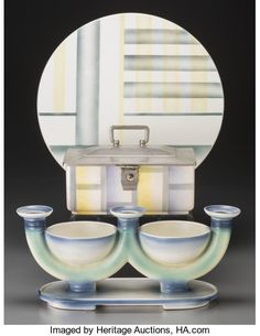 Two Villeroy & Boch Spritzdekor Table Items with Associated Tray, circa 1930 Marks: (mercury), Villeroy - Available at 2017 March 17 - 19 Through the. Bauhaus, Tray, Art Deco, Auction, Mercury, Pottery, Ceramics, Mirror, Modern