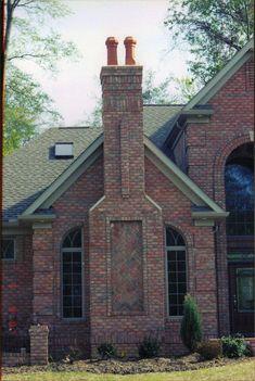 brick Chimney | Chimney with herring bone pattern. Danish brick. | Yoder Masonry, Inc.