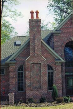 brick Chimney | Chimney with herring bone pattern. Danish brick. | Yoder Masonry, Inc.