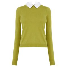 Buy Oasis Formal Collar Knit Top, Mid Green Online at johnlewis.com