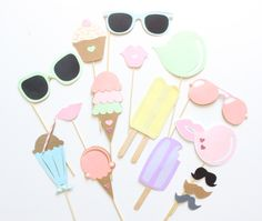 15pc Pastel Ice Cream Shoppe Photo Booth Props/Ice Cream/Sweets Party/Sumner Party/Beach Party/Ice Cream Social by ThePartyGirlStudio on Etsy