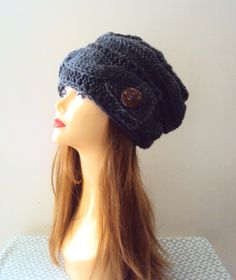 Super Slouchy Baggy Hat Beanie Button Hat Knit Charcoal Grey Chunky Hat Women Fall Winter Fashion Accessories Gift Ideas by GrahamsBazaar, $69.99