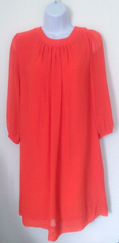 Eva Mendes Bright Orange Chiffon Shift Dress Size: Small #EvaMendes #Shift #Cocktail