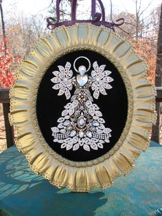 Huge Vintage Rhinestone Jewelry Christmas Tree Angel Art - By Tami R Dean 2014