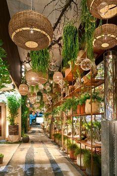 Gorgeous Hanging Bamboo Lamp Design - Louis Kiatiphap Aunyanuphap - Welcome to the World of Decor! Design Hotel, Restaurant Design, Restaurant Bar, Interior Design Inspiration, Home Decor Inspiration, Indoor Garden, Indoor Plants, Hanging Plants, Hanging Baskets