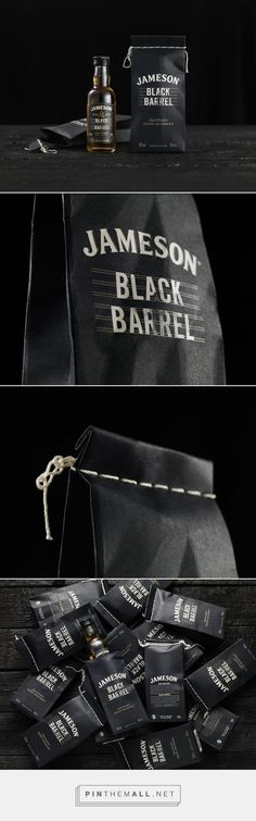 Whiskey in a bag! Jameson Whiskey Black Barrel packaging design by Pond Design - http://www.packagingoftheworld.com/2017/06/jameson-whiskey-black-barrel-50ml.html - created via https://pinthemall.net
