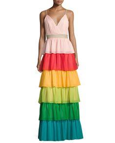 Alice + Olivia Luba Sleeveless Tiered Chiffon Gown, Multicolor