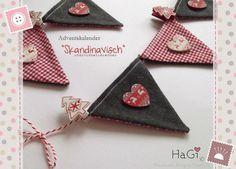 Adventskalender Wimpelkette Skandinavisch Zahlen von HaGi by Herzig ♥ Genaehtes auf DaWanda.com