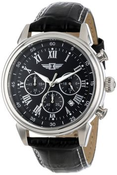 Invicta watches : I By Invicta Men's 90242-001 Chronograph Black Dial Black Leather Watch