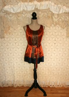 Fall Blouse Fall Clothing Satin Blouse Sleeveless Blouse Belted Blouse Blouson Loose Fit Long Blouse Brown Rust Size XS Small Women Clothing...