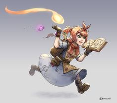 """kenthedm-inspiration: """" bch-art: """"  Here's the gnome wizard colored from last time. Actually kinda wanna redo her design but our game needed a token ~n~ """" I love the energy in this piece. Fantastic! """""""