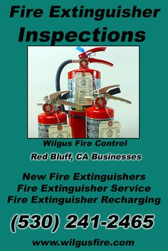 Fire Extinguisher Service Red Bluff, CA (530) 241-2465 We're Wilgus Fire Control. Call Today and Discover the Complete Source for all Your Fire Protection!