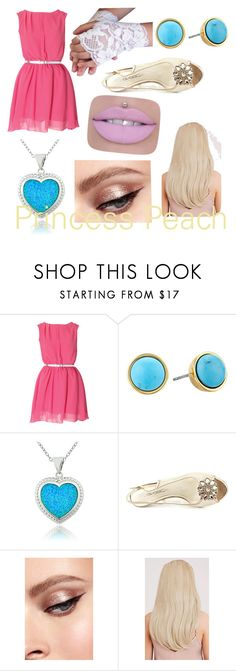 """""""Peach (Super Mario)"""" by cosbound ❤ liked on Polyvore featuring Kate Spade, Glitzy Rocks and Caparros"""