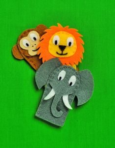 How to make Zoo Animal Finger Puppets, with monkey puppets, lion puppets and elephant puppets