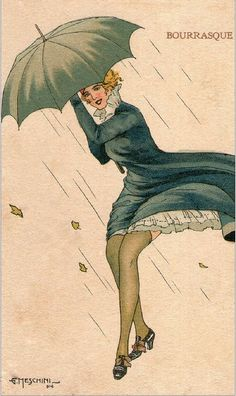 Meschini, Giovanni Woman w Umbrella, Rainy Day Umbrella Art, Under My Umbrella, Umbrella Painting, Illustrations, Illustration Art, Stars D'hollywood, Art Deco Paintings, Portrait Paintings, Rain Art