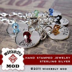 Personalized Bracelet - Hand Stamped Jewelry - Sabrina Six (6) Disc with crystals personalized bracelet. $119.00, via Etsy.