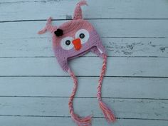 100% cotton crochet pink/lavender owl hat