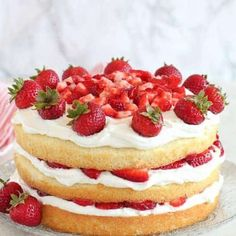 -Yummy- Strawberry Shortcake Cake - A fluffy vanilla sponge cake filled with layers of whipped cream frosting and juicy strawberries. The classic flavors of strawberry shortcake in a rustic, yet elegant layer cake. Fruit Salad Recipes, Dessert Recipes, Desserts, Vanilla Sponge Cake, Vanilla Cake, Strawberry Shortcake Recipes, Strawberry Cupcakes, Whipped Cream Frosting, Salty Cake