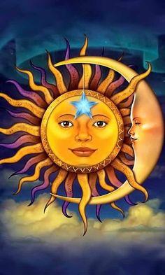 Sun and Moon Fantasy Art Greeting Card Sun Moon Stars, Sun And Stars, Art Soleil, Afrique Art, 3d Fantasy, Moon Face, Sun Art, Hippie Art, Tile Art
