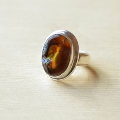 Oval Fire Agate Ring by VillageSilversmith on Etsy
