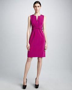 Elie Tahari Dorris Pleat-Neck Dress