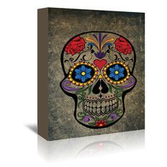 "East Urban Home 'Floral Horror Skull Gothic' Graphic Art on Wrapped Canvas Size: 30"" H x 24"" W x 1.5"" D"