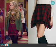 Maya's red plaid skirt on Girl Meets World.  Outfit Details: http://wornontv.net/48991/ #GirlMeetsWorld
