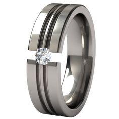 Equinox Tension Set Titanium Wedding Ring