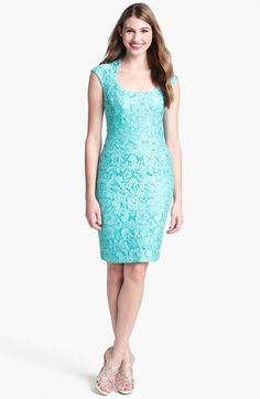 JAX Cap Sleeve Lace Sheath Dress available at #Nordstrom