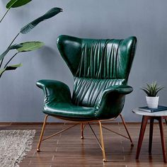 Wingback Accent Chair, Leather Recliner Chair, Upholstered Chairs, Leather Sofa, Sofa Chair, Pu Leather, Green Armchair, Velvet Armchair, Green Leather Chair