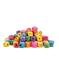 100pcs/set Cube Colourful Alphabet Letters Wood Bead Square Loose Beads For Kids Learning Toys