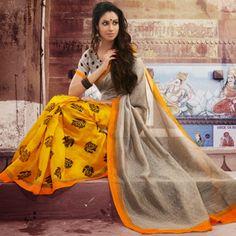 Grey & Yellow Bhagalpuri Silk Designer Saree - Banarasi Sarees by ShoppyStar