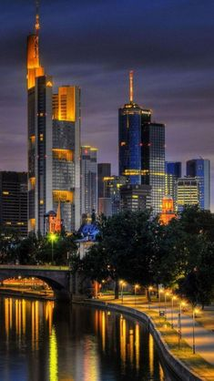 Frankfurt, Germany at Night (by day it's pretty nice as well. If you ever get a chance to spend any time there please do so)