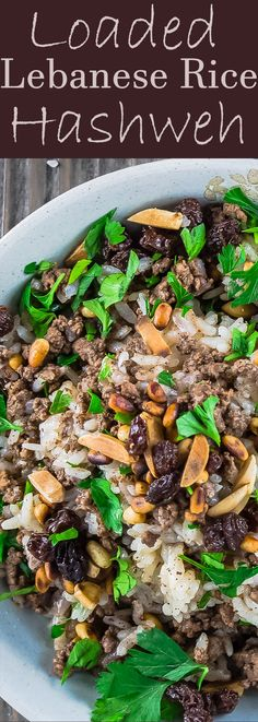 Lebanese Rice (Hashweh) | The Mediterranean Dish. Easy, flavorful loaded Lebanese Rice with ground beef, toasted nuts, raisins and sweet, earthy spices. Makes the perfect side dish or dinner bowl. Think also gluten free stuffing! #rice #lebaneserice #middleeasternrice #lebaneserecipe #mediterraneanrecipe #lebaneserecipe