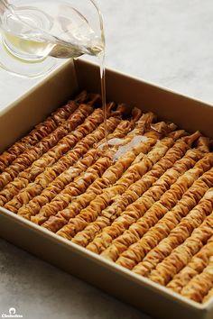 Cinnamon Baklava Rolls | Cleobuttera Greek Sweets, Greek Desserts, Tart Recipes, Baking Recipes, Dessert Recipes, Baklava Roll Recipe, Baklava Dessert, Greek Cake, British Baking Show Recipes