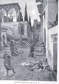 altarvisceral:    The Living Hurry Past the Dead: The Black Death in Florence, 1348 drawing by Marcello.