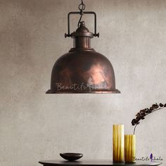 d823b488d2a Weathered Copper Finish Vintage Dome Shade Single Pendant Lamp for Dining  Room Restaurant 12.6 Pendant Lamp