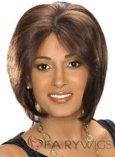 Cheap Short Straight Brown African American Lace Wigs for Women