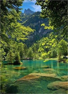 Blue #Lake, #Switzerland. Get some great #trip_ideas and start planning your next trip! See More: RoutePerfect.com