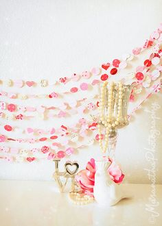 SALE SALE SALE Love Notes Valentine 25' Paper Garland by MaraMay, $25.00