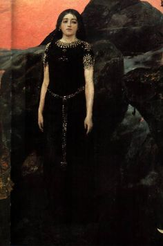Fairy tale happiness by Vasnetsov. Painting Three princess of the Underworld. 1884 detail