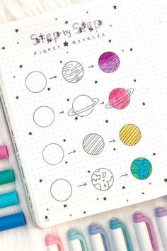Want to add some decoration to your bullet journal? Whether you're going for a space theme or something completely different, this list of doodles will help you get started! 🌎 doodles Step By Step Bullet Journal Doodle Tutorials