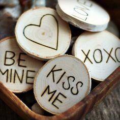 Valentine Decor - Wood Slices - Tree Branch Ornament - Wood Burned - Love - Heart - Valentines Day Decor - Wedding Decor on Etsy, $40.00