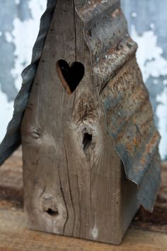 Reclaimed+Wood+Bird+House+With+Steel+Roof+by+PHickeyWoodDesigns,+$45.00